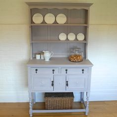 Beautiful dresser painted in Annie Sloan's 'Paloma', the perfect backdrop for white crockery. Available from Charlotte Jones Interiors. Contact us: sales@charlottejonesinteriors.com