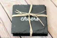 In just ten minutes you can make these DIY coasters! Learn how to customize slate coasters with ANY saying or image you want! These diy coasters are a perfect handmade gift for anyone on your list. Slate Coasters, Diy Coasters, Custom Coasters, Slate Shingles, Slate Signs, Tile Crafts, Coffee Table Design, Customized Gifts, Custom Gifts