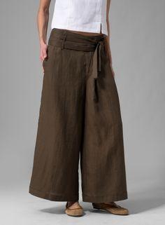 Linen Wide-Leg Pants Dark Olive Brown