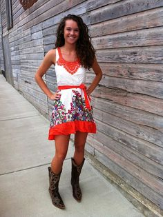 Cowgirl Clad Company - Floral Print Sundress with Orange Lace, $28.00 (http://www.cowgirlclad.com/floral-print-sundress-with-orange-lace/)