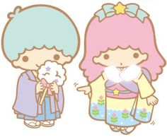 Love Little Twin Stars in traditional japanese outfits ♥      #kawaii #sanrio #twinstars