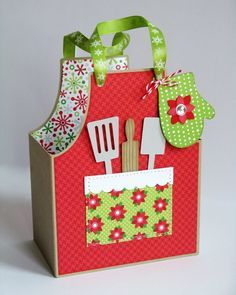 Today Mendi is sharing ideas to create quick holiday treat bags & gift boxes. Apron Gift Bag: I created this little bag using Lori Whitlock's Cook's Apron Box cutting file and Doodlebug's Home ...