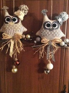 – shop online on Livemaster with sh Owl Ornament, Felt Ornaments, Christmas Tree Ornaments, Owl Crafts, Holiday Crafts, Diy And Crafts, Christmas Decorations Sewing, Crochet Decoration, Stone Crafts