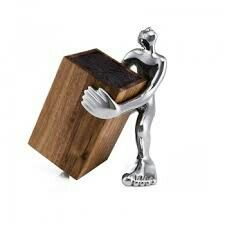 KNIFE BLOCK HOLDER - look sharp This acacia wood block contains plastic rods which hold the sharpest knives away from harm and also protect the blades from the elements when not in use. The block sits on a sturdy aluminium figure. Knife Storage, Wood Knife, Knife Holder, Acacia Wood, Wood Blocks, Knife Block, Things To Sell, Art Online, Knives