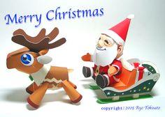 Papercraft simpático conjunto de Santa Claus en su trineo. Manualidades a Raudales.