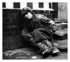 The Great Depression  In this picture, there is a person who seems very hungry and is a homeless person as well.
