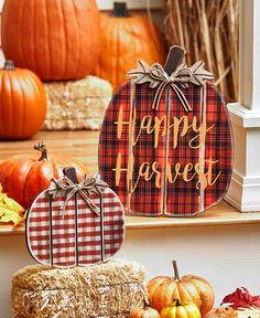 Sets of 2 Plaid Porch Pumpkins|LTD Commodities Battery Lights, Solar Lights, Unique Garden Decor, Solar Light Crafts, Metal Pumpkins, Ltd Commodities, Lakeside Collection, Harvest Season, Fall Plants