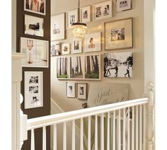 Love the entire wall/picture display.  I will copy this for my upstair hallway!!!! Love the pendant light too!