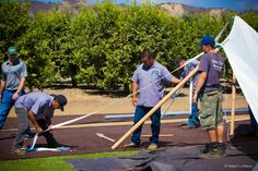 Ventura Rental crew laying out the new Tidewater Tent.