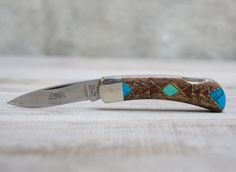 inlaid wood and stone pocket knife