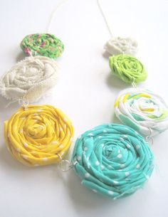 Spring Fabric Flower Rosette Necklace  by VintageOoakDesigns, $18.00