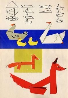 Origami Fox, Swan, and Goose Origami Paper Folding, Origami Envelope, Origami And Kirigami, Origami Fish, Diy Origami, Oragami, Cardboard Sculpture, Cardboard Paper, Crafts
