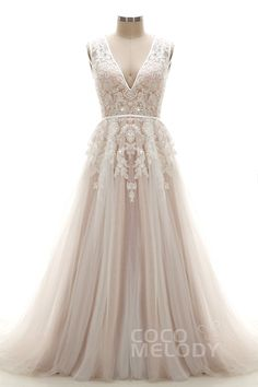 Latest A-Line V-Neck Natural Chapel Train Tulle and Lace Ivory/Champagne…