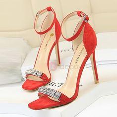 Faux Suede Rhinestone Stiletto Heel Women's Sandals