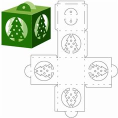 Silhouette Design Store: Christmas tree cube ornament Fensterbild Tonkarton Weisser Karton Cutting Out ==> Würfelornament Tannenbaum Weihnachten paper paper napkins paper to the moon Christmas Tree Ornaments, Christmas Diy, Christmas Decorations, Origami Christmas, Ornament Tree, Ornament Crafts, Christmas Design, Diy Gift Box, Diy Box
