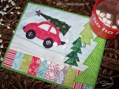 Christmas Mug Rug DIY Sewing Pattern / Tutorial