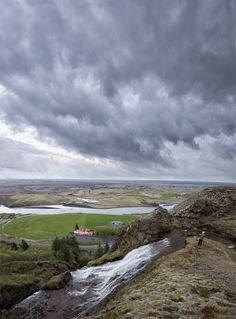 icelandicphoto:  Went out of town last weekend with some friends and stayed close to a tiny village called Kirkjubæjarkjaustur (yes I know, it´s even harder to pronouns than Eyjafjallajökull). :) Took a hike up to this cliff top and was rewarded with this magnificent view. It was late in the evening, around 10:30 and it was starting to get dark, everything was quiet except for the singing of some birds and the sound of this stream that ended in a small waterfall when it fell over the edge