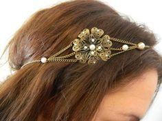 Head band fleur bronze