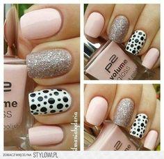 NOTD: Pink & Glitter & Dots