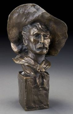 """Frederic Remington, """"The Sergeant"""" bronze sculpture. Inscribed on base, """"Frederic Remington""""; foundry inscribed, """"Roman Bronze Works, Inc NY"""". Frederic Sackrider Remington (American, 1861-1909) was well known for his western genre sculptures and paintings"""