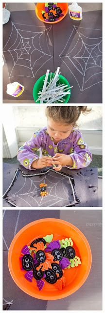 Fine Motor Fun: Pipe Cleaner Spider Web | Imprints From Tricia Halloween Activities For Kids, Holiday Activities, Halloween Kids, Halloween Themes, Preschool Activities, Halloween Crafts, Crafts For Kids, Halloween Traditions, Pipe Cleaner Crafts