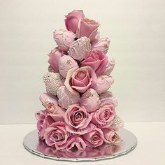 Strawberry tower - perfect for any occasion#strawberrytower #strawberries #roses…