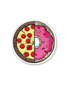 """Two of our favorite foods in one patch—pizza and donuts! Embroidered patch with merrowed edge Iron-on backing Measurements: 2.5"""" diameter By FLTodd"""