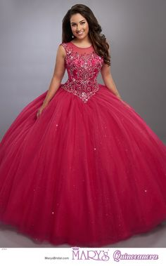 Beloving style 4764 • Sparkling tulle quinceanera ball gown with illusion scoop neck line, beaded bodice, basque waist line, and illusion back with zipper closure.