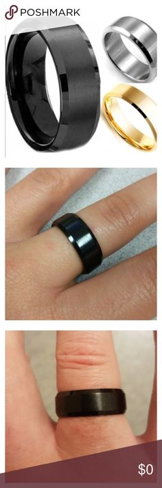 Men's stainless Steele commitment band. Stainless steel black band. Rings are a great way to show commitment or a promise. They are also a fantastic way to dress up your night out attire. Accessories Jewelry