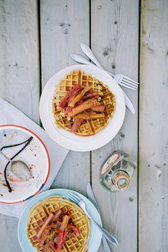 waffles + vanilla stewed rhubarb // the first mess
