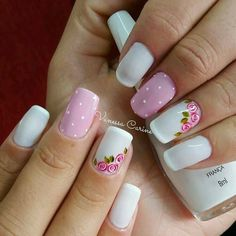 Perfect Combo of Flowers and Dots for Nail Art on Easter