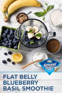 Add extra flavor to your morning smoothie with Almond Breeze Almondmilk. Packed with fruit, protein and flavor, this Flat Belly Blueberry Basil Smoothie is quick, easy and delicious. Want to make it vegan? Swap in your favorite plant-based yogurt! Yogurt Smoothies, Healthy Breakfast Smoothies, Healthy Drinks, Healthy Snacks, Healthy Eating, Eat Breakfast, Breakfast Biscuits, Smoothie Detox, Smoothie Recipes