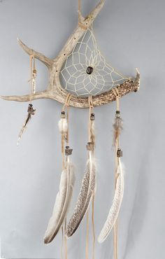 Deer Antler Dream Catcher Rustic Dreamcatcher by MetisArtsJolin