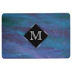 #monogrammed - #Energetic Decor Monogram Blue Purple Teal Pastel Floor Mat