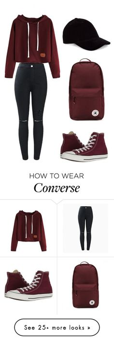 """Blacknredvelvet"" by jennifer1105 on Polyvore featuring Converse and Le Amonie"