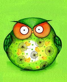 Christmas Green Funny OWL - Painting Print by Annya Kai - Cute Fat Bird - Owl Decor Lime Yellow Colorful Unique Wall Art