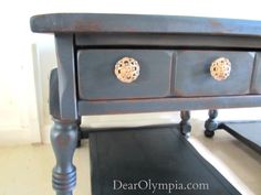 This was my first time using CeCe Caldwell's Vermont Slate (I also used the aging dark wax) and antique gold on the hardware. Upcycle. Refinished furniture.