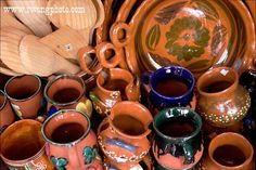 Terra cotta planters, pitchers and serving bowls or trays. Great for decorating and fun to use. Hand wash and hand dry.
