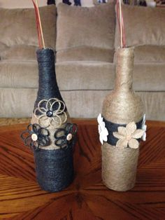 More jute wrapped wine bottles