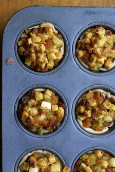 "stuffing cups a Golden Raisin Apple Stuffing Cups   Healthy Holiday Recipe--i will make this outside of the ""holidays"""