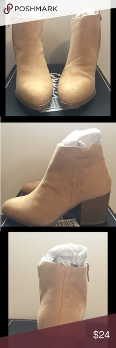 Ankle boots faux suede beige women's 6 NEW in box These stylish ankle boots are brand new in box 📦 and comes from a smoke free home.  Sizes and measurements in pics.  Buy with confidence I am a top rated seller, mentor and fast shipper.  Don't forget to bundle and save.  Thank you. Qupid Shoes Ankle Boots & Booties