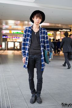 Shibuya Guy in Hat, WEGO Plaid Shirt Jacket, Skinny Jeans & Clutch Bag