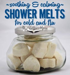 These simple to make shower melts are soothing and calming for coughs, colds and flu. They combine baking soda, magnesium, essential oils and menthol.