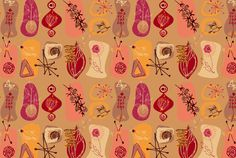 1950s style repeat print. Designed for a canvas panel for a restaurant interior.
