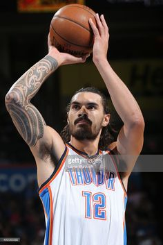 Steven Adams #12 of the Oklahoma City Thunder prepares to shoot a free throw against