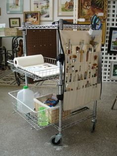 .diy paint cart with handmade canvas brush holder