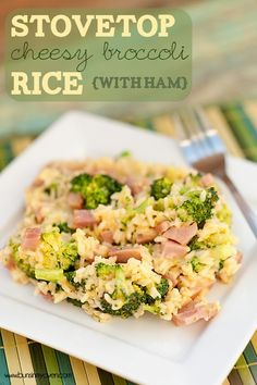 stovetop cheesy broccoli rice with ham recipe 1 tablespoon olive oil 1 cup long-grain white rice 2 1/4 cups chicken broth 2 small heads of broccoli 2 tablespoons butter 3 cups cooked diced ham, hot (warm it up in the microwave for a couple of minutes) 1 cup shredded sharp cheddar 1/2 teaspoon garlic powder salt and pepper, to taste splash of milk, as needed - chicfluff.org