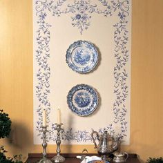 Wouldn't this be a lovely way to display our cherished blue and white plates?Stencils   Floral Embroidery Stencil Set   Royal Design Studio