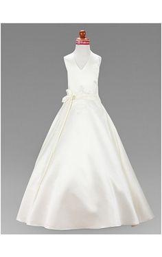 A-line V-neck Floor-length Satin Flower Girl Dress