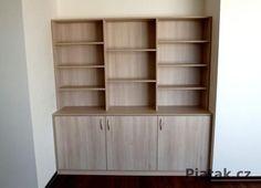 Realizace Brno  knihovna   materiál akazie Bookcase, Shelves, Home Decor, Shelving, Decoration Home, Room Decor, Book Shelves, Shelving Units, Home Interior Design